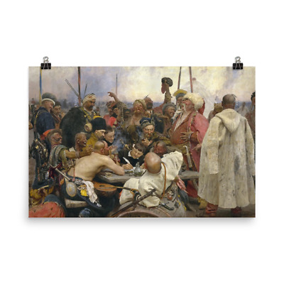 BARGE HAULERS ON THE VOLGA poster painted by ILYA REPIN russian rare 24X36