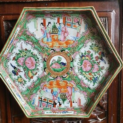 Antique Chinese Rose Medallion Octagonal Tea Tray 19th Century
