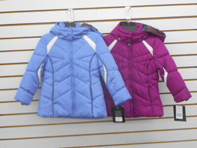 Girls London Fog Assorted Colors Detachable Hooded Puffer Jackets Size 5/6