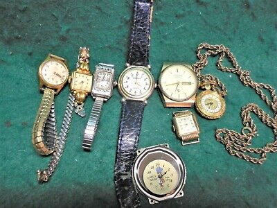 Lot of 8 Vintage Watches. Some With Bands