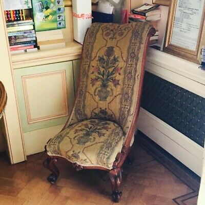 Victorian antique fabric oak chair in good condition.