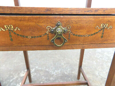 antique,edwardian,inlaid,2 tier,small,walnut,side table,drawer,end table,table