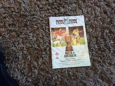 1999 Rugby World Cup quarter-finals program Wales versus Australia