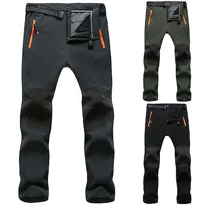 Men SOFT Shell Outdoor Trousers Thick Hiking Spots Pants Waterproof Outdoor Slim
