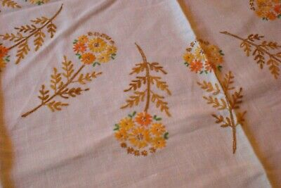 Vintage Embroidered Floral Tablecloth Fall Colors