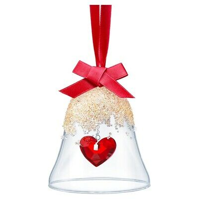 2019 Christmas Bell Ornament Red Heart Gold Authentic Swarovski Crystal 5464881
