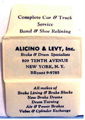 Vintage   Alicino & Levy Brake & Drum Specialists  DE Safety Razor Blade