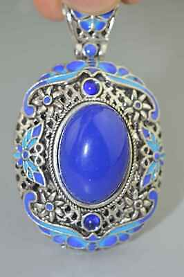 Ancient China Collectable Miao Silver Inlay Colour Agate Bead Auspicious Pendant
