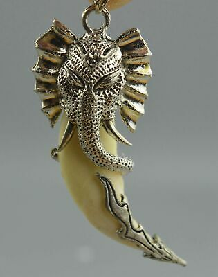 China Ancient Collectable Handwork Miao Silver Carve Elephant Head Lucky Pendant