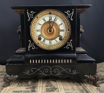 Antique Ansonia mantle clock, cast iron, Edwardian clock