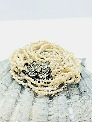 Antique Late Victorian Pearl Necklace Silver Clasp Rare Collectible