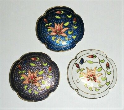 CLEARANCE-3 CLOISONNE LOTUS FLOWER PUFFED FLAT ROUND DOUBLE SIDE BEADS-80s-NEW