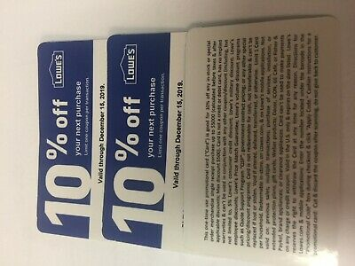 3 Lowes 10% off Coupons (Only Good at Home Depot) $4.99 Expire Dec 15th 2019