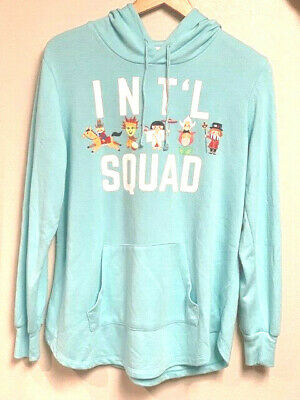 Disney Parks SMALL WORLD INT'L SQUAD Teal Hoodie Size Large USED
