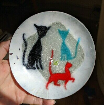 Copper Enamel Mid-century Modern Cat Dish Signed Brower