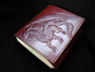 MAGIC DRAGON - Handmade Leather Notebook Journal Diary - with Unlined Pages