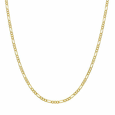 Solid 14KT Yellow Gold Figaro Chain Necklace 1.60mm Thick Lobster Clasp