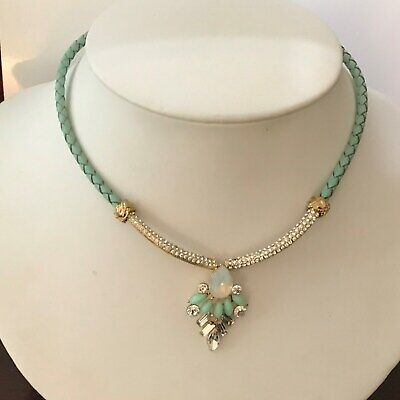 Beautiful (NEW) Necklace with Braided Aqua Leather and Swarovski Crystal Stones