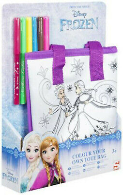 Colour Your Own Purple Character Totebag w Six Markers Art & Craft Set - Frozen