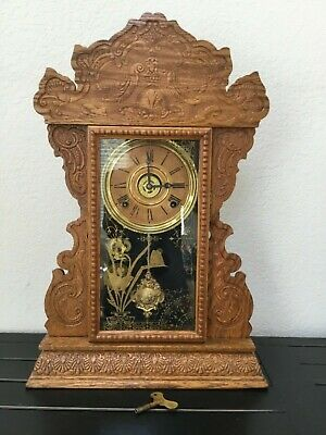Antique 8 Day E.n. Welch Kitchen Mantle Clock W/ Key Alarm Chime  Gingerbread