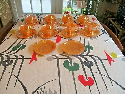 MCM VINTAGE 18-piece set PEACH LUSTRE WARE MCM FIRE KING ANCHOR HOCKING