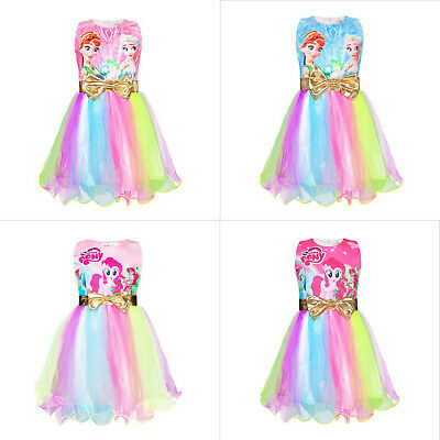 Girls My Little Pony/Frozen Bowknot Rainbow Dress Party Pageant Holiday Dress