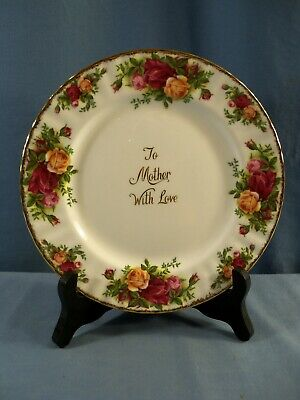 """Royal Albert Bone China Old Country Roses Plate - To Mother With Love 8"""" Wide"""