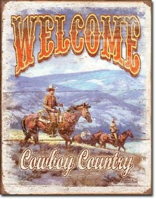 Welcome Cowboy County Rustic Weathered Horse Wall Art Decor Metal Tin Sign New