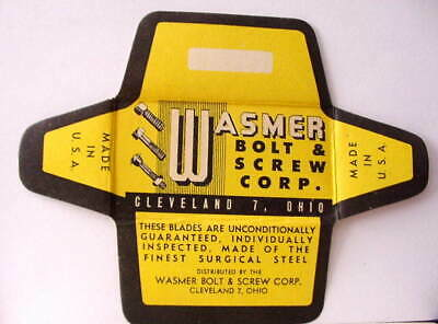 Vintage WASMER BOLT & SCREW  DE Safety Razor Blade