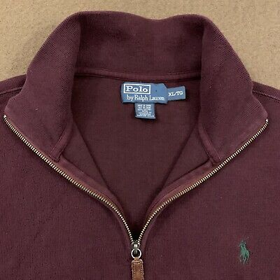 Mens Polo RALPH LAUREN Burgundy Quarter Zip Sweater XL