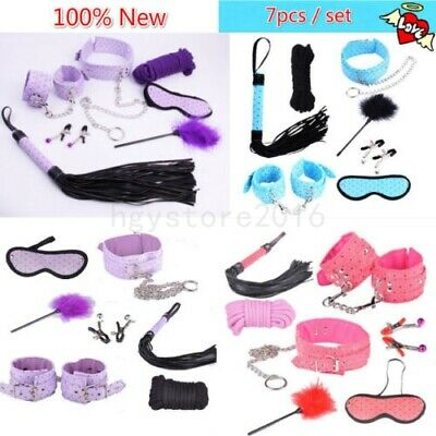 Slave Collar Handcuffs Ankle Cuffs Rope Whip Restraints Set Mouth Gag Bondage