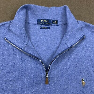 Mens Polo RALPH LAUREN Cadet Blue Estate Rib 1/4 Zip Sweater XL