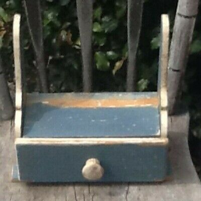 Early  1900s Primitive Wooden Shelf With Drawer Cubby Old Blue and White Paint