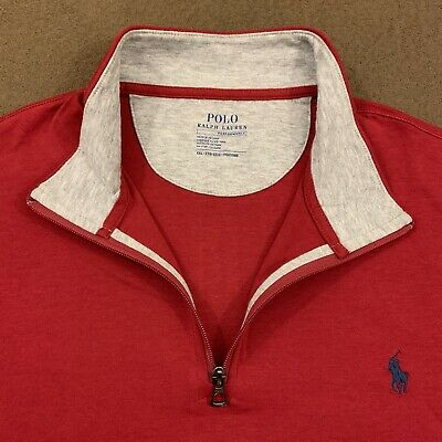 Mens Polo RALPH LAUREN Red Performance 1/4 Zip Sweater 2XL