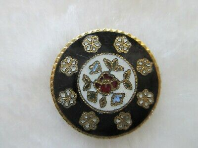 """*Antique~French Champleve Enamel Flowers~Gilt Brass Button 3/4"""""""