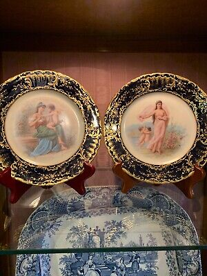 Antique Hand Painted Pair Signed Royal Vienna Cobalt Plates Josef Ahne Stunning