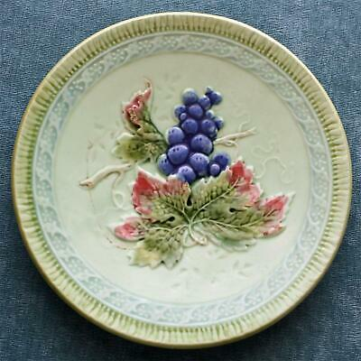Antique Majolica Black Forest Art Pottery Plate with Grapes