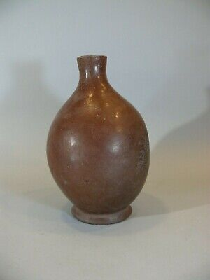 "Antique Native American Indian Navajo Redware 9"" Tall Wood Fire Bottle"