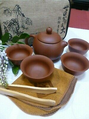 AUSSIE SELLER 8 PIECE CHINESE YIXING RED CLAY TEAPOT SET 4 Cups Tongs Cloth, Bag