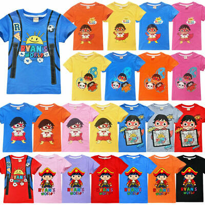 AU Ryan Toys Review Kids T Shirt Ryan's World Cartoon Short Sleeve Tops 4-10 Yrs