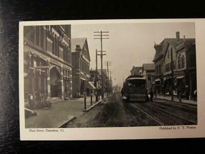 Connecticut Ct Danielson Post Card Main Street Stores Cars Signs Trolley
