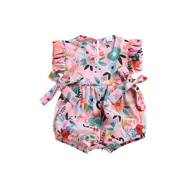 Newborn Sweet Baby Girl Floral Ruffle Romper Bodysuit Jumpsuit Outfits Sunsuit