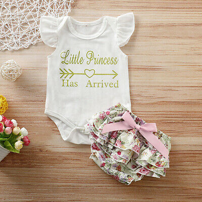 2PCS Newborn Baby Girls Letter Tops Romper Bodysuit Pants 2PCS Outfits Clothes