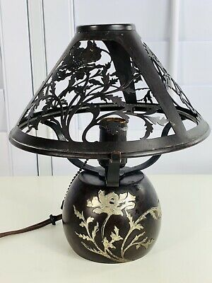 Arts and Crafts Small Metal Black Mission Style Lamp
