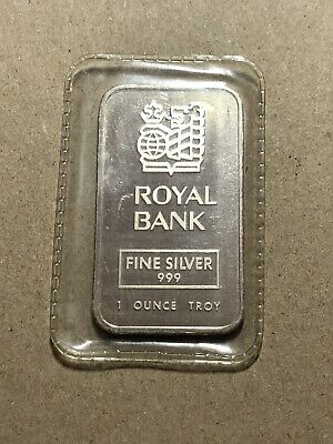 J&M Johnson Matthey Royal Bank 1 oz Silver Bar Serial # 016636