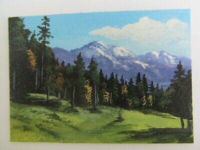 ACEO Original Acrylic Painting Landscape Mountain Meadow by Artist Joan Hutson