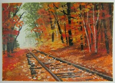 ACEO Original Acrylic Painting Landscape Buried in Fall Leaves by Joan Hutson