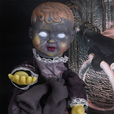 Haunted Creepy Gothic Electric Talking Baby Doll Animated Halloween Glowing Prop