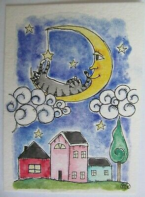 ACEO Original Pen Watercolor Painting Cat Grey Tabby Moon Stars Folk Art M King