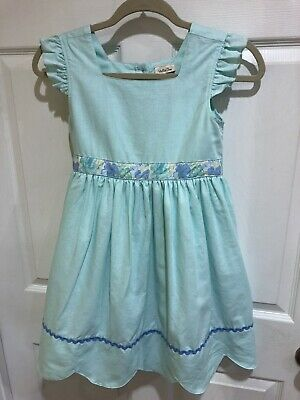 Matilda Jane Youth Girl's Dress Size 10 Green Scallop Hem Lined Exc Cond